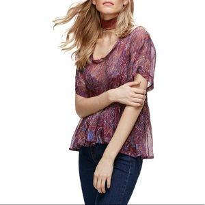 Free People Say You Will Paisley Chiffon Boho Top